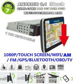 1 Din Android 8.1 9 1080P Quad-core RAM 1GB ROM 16GB Car Stereo Radio GPS OBD