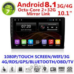 10.1'' Android 8.1 1080P Octa-Core 2G RAM +32G ROM Car Stereo Radio GPS 4G WiFi