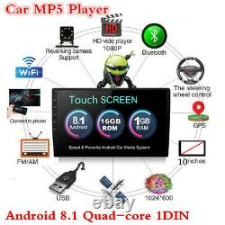 10.1in 1DIN Car Radio Stereo MP5 Player Android 8.1 Quad-core GPS SAT NAV 1+16GB