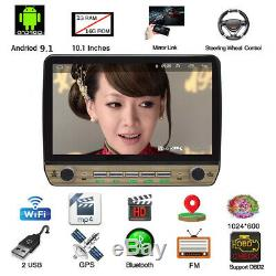 10.1in Android 9.1 Quad-core 1Din Car Radio Stereo Multimedia Player GPS Sat NAV