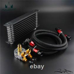 10 Row Engine Trust Oil Cooler with Thermostat 176 F Oil Filter Adapter Hose Kit