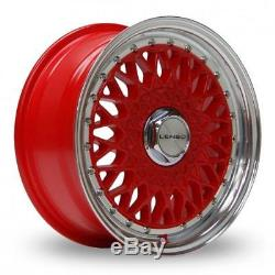 15 Lenso Bsx Red Mirror Lip Alloy Wheels Only Brand New 4x114.3 Et35 Rims
