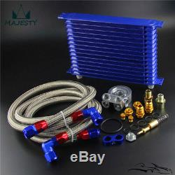 15 Row 80 Deg Thermostat Adapter Engine Racing AN10 Oil Cooler Kit For Japan Car