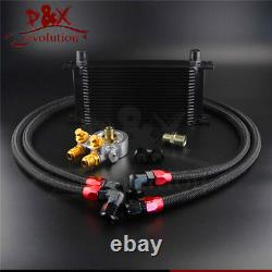 19 Row Thermostat Adaptor Engine Racing Oil Cooler Kit For Car/Truck Black