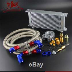 19 Row Thermostat Adaptor Engine Racing Oil Cooler Kit For Car/Truck Silver