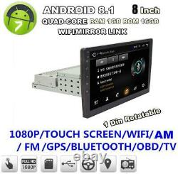 1DIN Adjustable 8 Android 8.1 Car Stereo Radio GPS Wifi MLK With Rear View Camera