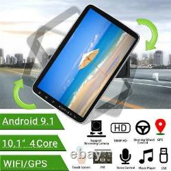 1DIN Rotatable 10.1'' Android 9.1 Car Stereo Radio Wifi GPS Navigation With Camera
