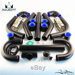 2.25 57mm Universal Intercooler Pipe Piping + Turbo Flange Pipe BOV Kit Black