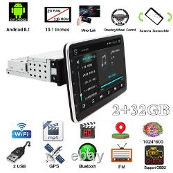 2+32G 10.1in 1Din Android 9.0 Car Stereo Radio GPS Navi Bluetooth Player WiFi FM