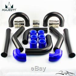 2.5 63mm Universal Intercooler Turbo Boost Piping Pipe 8Pcs Hose Kit L=450mm