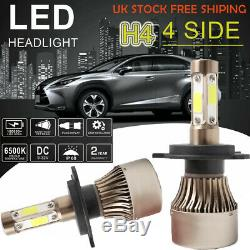 2 x H4 LED Headlight Main Dipped Beam Bulbs Lamp CREE Car 80W 8000LM 6000K White