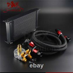 22 Row Thermostat Adaptor Engine Racing Oil Cooler Kit For Car/Truck Black