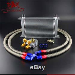 22 Row Thermostat Adaptor Engine Racing Oil Cooler Kit For Car/Truck Silver