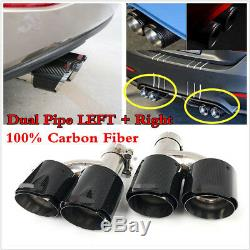 2PC Glossy 100% Carbon Fiber ID3.0 76mm OD4.0 101mm Car Dual Pipe LEFT+Right