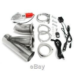 2X 3'' 76mm Electric Exhaust Valve Catback Downpipe System Remote Cutout E-cut