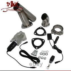 2pcs Dual 2 Exhaust Catback Downpipe Cutout E-Cut Valve System Electric Control