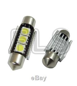2x 39mm CANBUS WHITE LIGHT 3 LED LICENCE NUMBER PLATE / INTERIOR BULBS NSN1