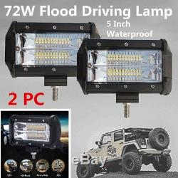 2x 5 INCH 72W FLOOD LIGHT LED BAR WORK LAMP FOR OFFROAD / BOAT /CAR /TRUCK