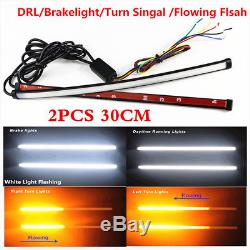 2x30cm Switchback Flowing Car DRL LED Knight Rider Turn Signal Brake Light Strip