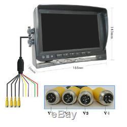 360° Panoramic 4CH 7 AHD Video Recorder DVR Monitor+4X AHD Night Vision Camera