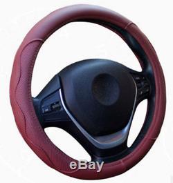 38CM Fiber PU Leather Embossed Car SUV Steering Wheel Cover Sport Style Burgundy