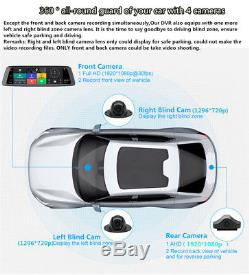 4CH Android 5.1 10 Car DVR Mirror Dash Cam Video Recorder BT WIFI GPS + 3Camera