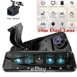 4G 10in Dual Lens FHD Car DVR Dash Cam Video Rearview Mirror Recorder Wifi GPS