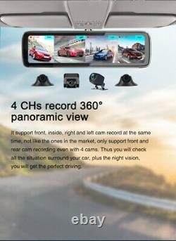 4G Wifi Android Car DVR 4 Cameras Video Recorder 10in Rearview Mirror Dash Cam