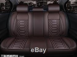 5-Sits Front&Rear Car Seat Cover PU Leather Cushion Pad For Interior Accessories