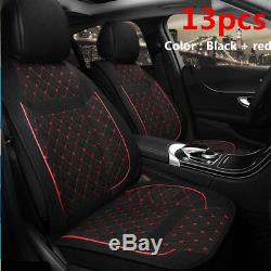 5-seat Car Front Rear Row Seat Cover Soft Breathable Linen Cushions Protector