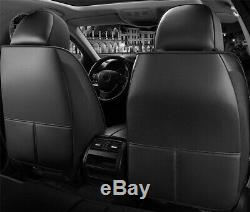 5-sits Black Full Set Interior Car Seat Cover PU Leather Embroidery Seat Cushion