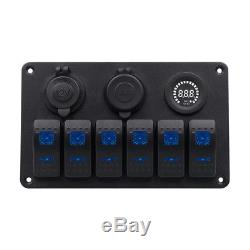 6 Gang Rocker Switch Printed Panel With Color Voltmeter for Car Lamp More Safe