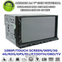 7 1080P Touch Screen Octa-Core 4GB RAM 32GB ROM Car Stereo Radio GPS Wifi 3G 4G