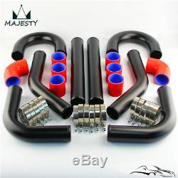 8Pcs L=450mm 2.36 60mm Universal Intercooler Turbo Boost Piping Pipe Hose Kit