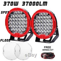 9 370W PAIR 37LED Work Light Driving Lamp Spot Lamp+Flood Cover+Switch+Brackets