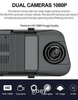 9.66in HD 1080P Dual Lens Car DVR Dash Camera Video Recorder Rearview Mirror
