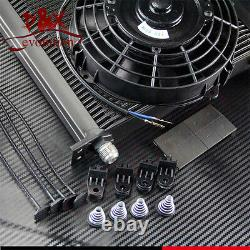 Aluminum 40 Row 10AN Engine Oil Cooler Kit with 7 Electric Fan