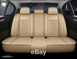 Beige Full Set Leather Car Seat Cover Cushions Pillows For Interior Accessories