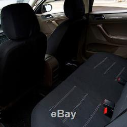 Black 11 PCS Car Seat Covers FULL SET 5 Seat Car Accessories Polyester Fabric