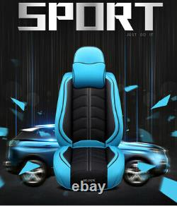 Black/Blue Luxury PU Leather Full Set Breathable 5D Seat Covers For 5-Seats Car