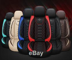 Black Blue PU Leather 6D Surrounded Full Set Car Seat Cover Protector Cushions