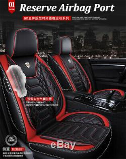 Black Leather Full Set Car Seat Cover Cushion Breathable Durable Protector Pad