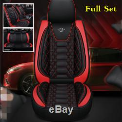 Black/Red 6D Surrounded PU Leather Car Seat Cover Cushion Styling Accessories