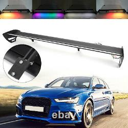 Black Universal Hatch Aluminum Rear Trunk Wing Racing Spoiler With LED Light A3