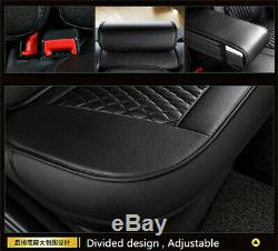 Black/White Full Set Car Front & Rear Seat Cover PU Leather Cushions Protectors
