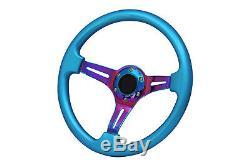 Blue Neo Chrome TS Steering Wheel + Quick Release boss 42BK for NISSAN