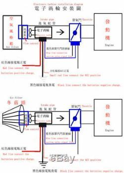 Car Electric Turbocharger Supercharger Kit Thrust Fuel Saver Air Filter Intake &