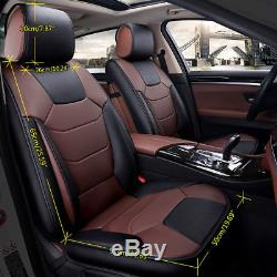 Car Microfiber Leather Seat Covers S Size 5-Seat SUV Front+Rear Set BK&Coffee