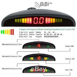 Car Reverse Backup Flat Radar Detector System LED Display Flat Parking 4 Sensors