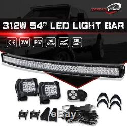 Curved 54Inch LED Light Bar Combo+ 2X 4 Pods Cube+Wiring + Remote Toyota RAV